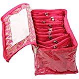 Kuber Industries Pink Fabric 10 Transparent Pouches Jewellery Box
