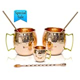 18 oz Copper Mugs Set Moscow Mule – 100% Copper Hammered Finish PREMIUM Best Quality Shinny – Hand crafted in India – Set of 2 With FREE GIFT: 2 Straws + Stir spoon + Shot mug
