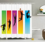Ambesonne Sports Decor Collection, Basketball Slam Dunk Image Sequence of Actions Player Game Match Design, Polyester Fabric Bathroom Shower Curtain Set with Hooks, Green Red Purple Blue Orange