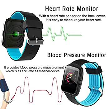 Qiwoo Fitness Tracker Women Men Blood Pressure Heart Rate Monitor Pedometer Calorie Wrist Stopwatch Activity GPS Tracker Smart Watch Electronic Wearable Travel Office