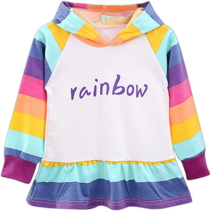 CLRA Women Casual Loose Long Sleeve Rainbow Print Pullover Blouse Shirts Black White Blue Purple Top