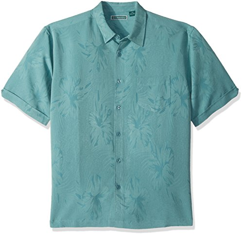 Cubavera Men's Short Sleeve Tonal Floral Jacquard Woven Shirt with Pocket, Colonial Blue, X-Large