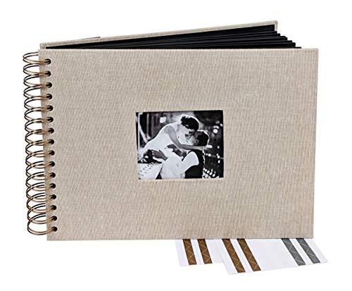 Vintage Burlap Hessian Spiral Bound Wedding Guest Book & Accessories Set, Photo Album, (11.4