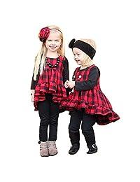 Matoen Newborn Infant Baby Girl Ruffle Plaid Sleeveless Princess Dress+Headband