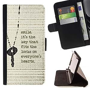 Momo Phone Case / Flip Funda de Cuero Case Cover - Sonrisa Cita clave Corazón inspiradora motivación - Samsung Galaxy E5 E500
