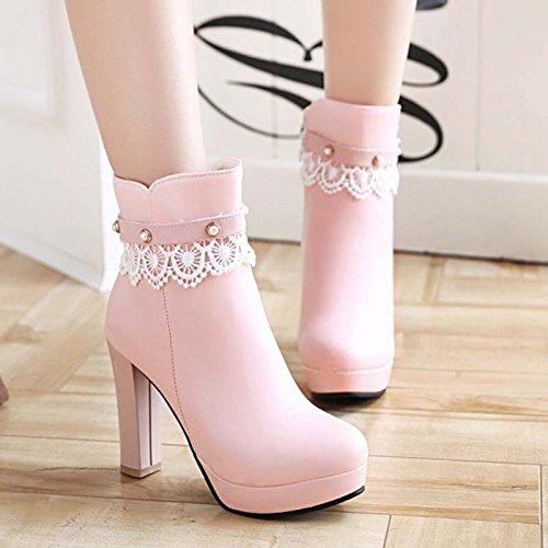 GTVERNH-Die Stiefel Und Schuhe Mit Dicken Stiefeln Hochhackige Schuhe Wasserdicht Martin Stiefel Single Sweet Koreanischen 10.5Cm