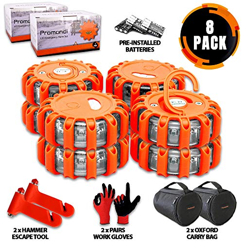 8 Pack of Roadside Safety Discs Set – LED Road Flares Emergency Disc – Rescue Beacon Road Safety Flare Light for Car Boat Marine Vehicles – Discs & Batteries & Gloves & Hammer & Bag by Promondi