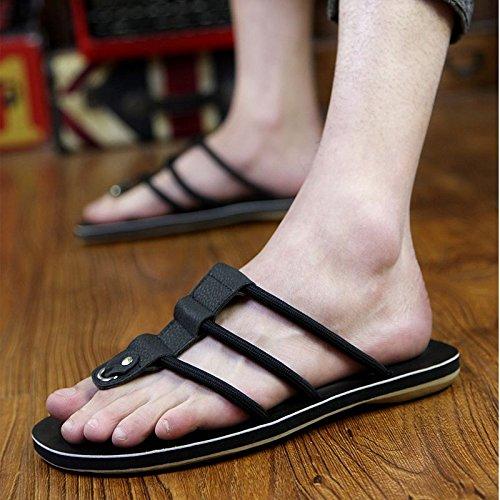 Xing Lin Sandalias De Hombre Zapatillas De Cuero De Hombres, Hombres Coreanos, Placa De Pie Calzado De Playa, Sandalias Y Zapatillas Pinch black