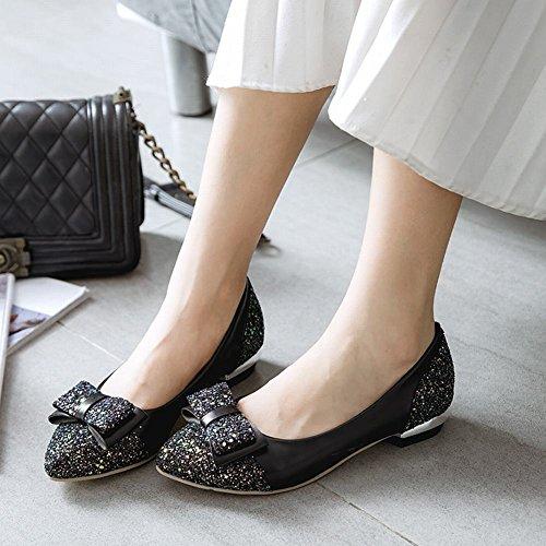 Mee Shoes Damen süß Niedrig chunky heels Pailletten Pumps Schwarz