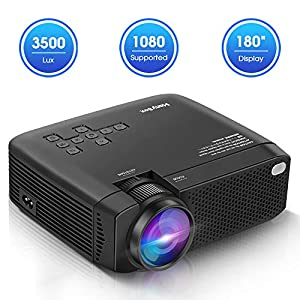 ManyBox Mini Projector, Portable Video Projector with 45000 Hrs LED Lamp Life, Full HD 1080P Supported, Compatible with…