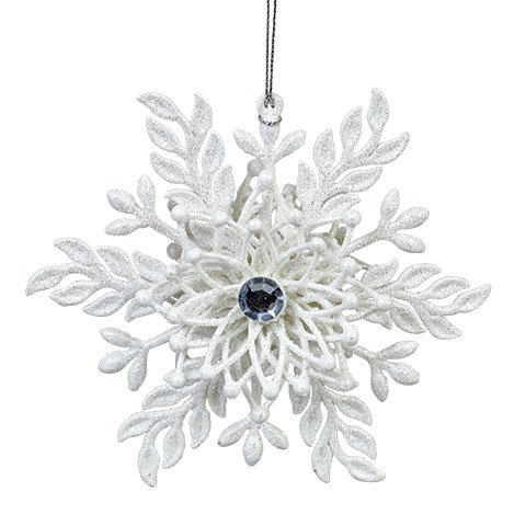 Christmas Holiday Christmas Ornament Snowflake Snowflakes FROSTED UNIQUE GEM Leaves Winter Home Decor Decoration Decorations White - 1 Garland Pier Christmas