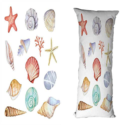 duommhome Nautical Fashion Pillowcase Collection of Different Type Seashells Scallop Mollusk Summer Exotic Creatures Animals Cushion W17.7X L27.5 inch Multi ()