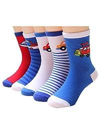 Little Boys Socks Cotton Aircraft Comfort Crew Socks 5 Pair Pack