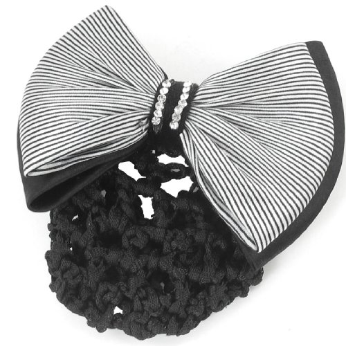 Lady Rhinestone Decor Black White Stripe Print Bowknot Snood Net Barrette French Hair (White Polyester Hair Net)
