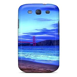 ChriDD Premium Protective Hard Case For Galaxy S3- Nice Design - Golden Gate Bridge From The Beach Hdr