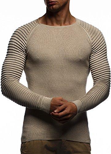Leif Nelson Men's Knit Pullover LN20729; Size L, Beige