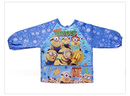 US Seller CJB Cute Minions Depicable Me 3 Blue Water Resistant Kids School Art Paint Smock Bib Apron with Sleeves M// 2-4 Years Old