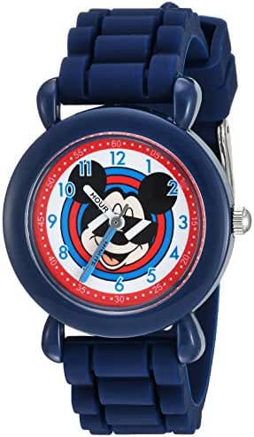 Disney Boy's 'Mickey Mouse' Quartz Plastic and Silicone Casual Watch, Color:Blue (Model: WDS000143)