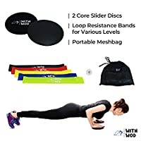 WITHWOD CORE WORKOUT SLIDER GLIDING Dual-Sided DISCS WITH RESISTANCE BANDS (SET OF 5) | Various Level and Floors Workout | Strength Ankle Straps | Home Exercise & Gym Fitness