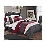 Oversized King Bed in a Bag Set Chic Home Carlton 6-Piece Comforter Set, King Size, Burgundy