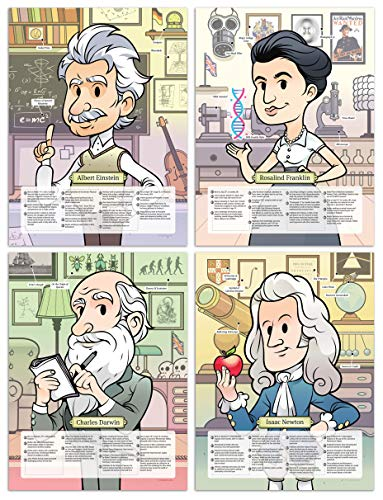 Motivational posters for kids - Educational Set of 4 Large Laminated Posters for Classroom, Homeschool or Bedroom - 18x24 (Albert Einstein, Rosalind Franklin, Charles Darwin & Isaac Newton) (Isaac Newton Laws Of Motion For Kids)