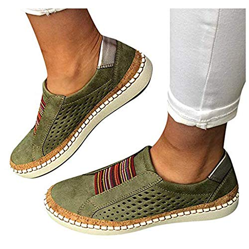 TnaIolral Women Casual Hollow-Out Shoes Round Toe Slip On Flat with Sneakers (US:6.5, Green)