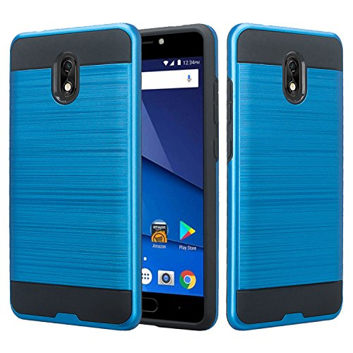 BLU Life One X3 Case, SOGA Shockproof Absorption Anti-Scratch Brush Texture Slim Hybrid Armor Protective Phone Cover Compatible for BLU Life One X3 (Blue)