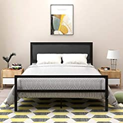 Bedroom JURMERRY Metal Bed Frame with Part Faux Leather Headboard Modern Classic Premium Steel Slat No Box Spring Needed,Queen… modern beds and bed frames