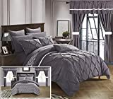 20 Piece Comforter Set Chic Home CS0587-AN 20 Piece Jacksonville Complete Bed Room In A Bag Super Pinch Pleated Design Reversible Chevron Pattern Comforter Set, Sheet, Window Treatments And Decorative Pillows, Queen, Plum