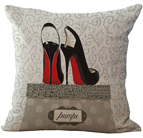 (Eazyhurry Fashionable Balck High Heel Shoes Print Pattern Linen Decorative Throw Cushion Burlap Decorative Pillow Case Home Decor Office Chair Seat Back Placement 18 X 18'')