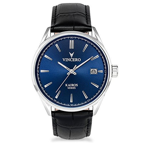 (Vincero Luxury Men's Kairos Wrist Watch — Blue dial with Black Leather Watch Band — 42mm Analog Watch — Japanese Quartz Movement)