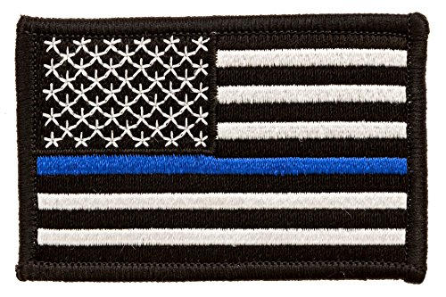Skyhawk Tactical US Flag Thin  Line Police Law Enforcement Embroidered Patches, Blue, 2