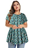 MONNURO Womens Short Sleeve Casual Loose Fit Flare Swing Tunic Tops Basic T-Shirt Plus Size (Floral07, 3X)