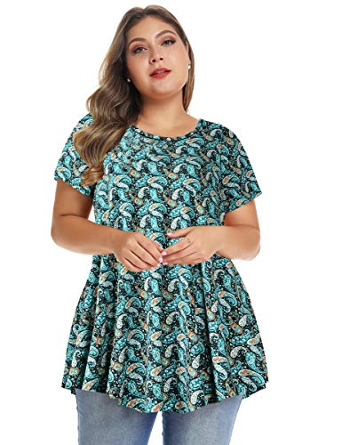- MONNURO Womens Short Sleeve Casual Loose Fit Flare Swing Tunic Tops Basic T-Shirt Plus Size (Floral07, 5X)