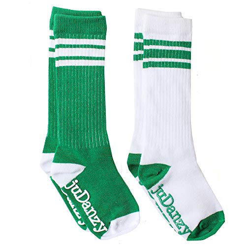 juDanzy knee high team color tube socks for toddler and youth boys and girls (2 Pack) (4-6 Years (Shoe Size 9C-1) With Anti-slip grip, Green)]()