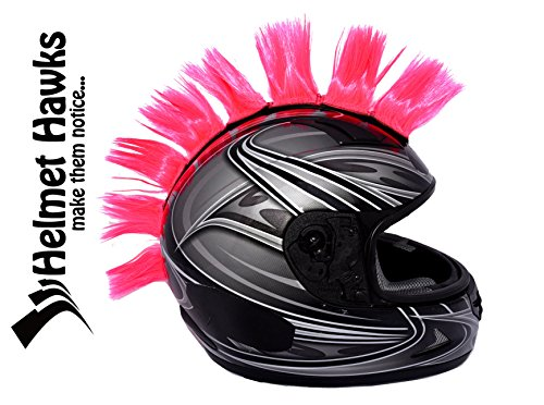 Helmet Hawks Motorcycle Snoboard Helmet Mohawk W  Sticky Velcro Adhesive  8  Hair Patches 2  Long X 3  Tall   Fluorescent Hot Pink