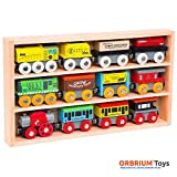 A great collection of engines and train cars by Orbrium Toys.;Set includes engines, tender, coaches, convertible coach/hopper car, cargo car, magnetic cargo load, tanker car, magnetic tanker load, hopper car, and cabooses.;Comes in beautiful ...
