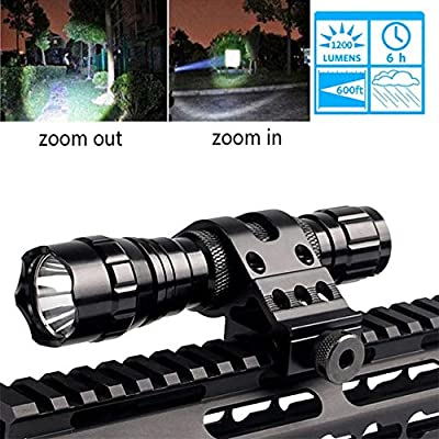 Tactical Flashlight Zoomable 1200Lumen Hunting Torch Super Bright Weapon Light T6 LED Adjustable Focus Torch Rail Light Waterproof with Pressure Switch, 45 Degree Picatinny Mount Rail(White Color)