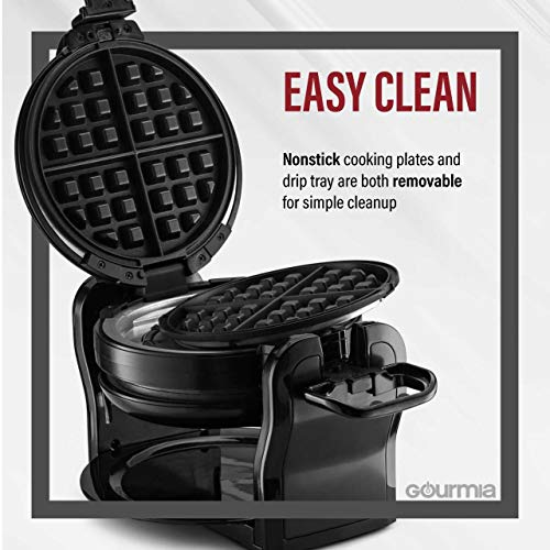 Gourmia GWM490 Maker Double Waffles - Fast & Easy 180 Degree - Brushed Nonstick - Recipe
