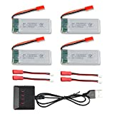 4Pcs 3.7V 900mah Li Battery for 8807 8807W Fordable RC Quadcopter Drone + 1 to 4 Charger + Charging Cable - CreaTion