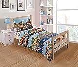 Fancy Linen 3pc Toddler Bed Comforter Set Under Construction Zone Trucks Tractors Light Blue Red Yellow Dark Blue