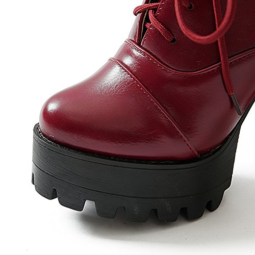 Toe High Red Closed Women's Toe Heels Platform Boots Sole Round with AmoonyFashion Slipping and XEFwOq