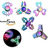 Wangyue Fidget Spinners Random 5 Pack Steel Bearing 3-5 Min High Speed Stress Relief Best Fidgets EDC ADHD Anxiety Toys for Adult Kid