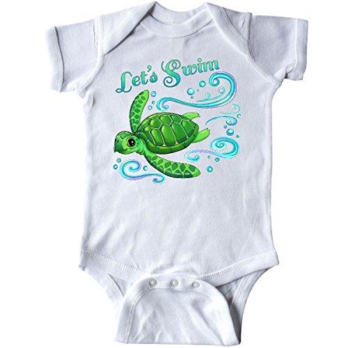inktastic - Lets Swim- Cute sea Turtle Infant Creeper Newborn White 2e781