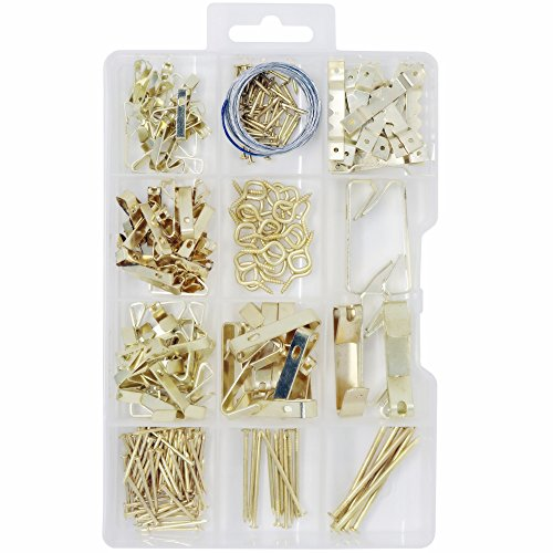 T.K.Excellent Brass Plated Picture Hangers Assortment Kit,233 Pieces