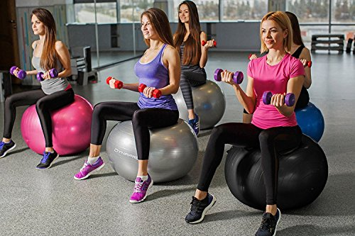 DYNAPRO Exercise Ball - 2,000 lbs Stability Ball - Professional Grade – Anti Burst Exercise Equipment for Home, Balance, Gym, Core Strength, Yoga, Fitness, Desk Chairs (Pink, 65 Centimeters) by DYNAPRO (Image #5)