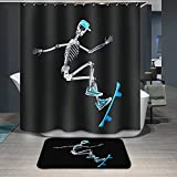 Modern design Dries Quickly Skeleton skate Skull Skateboard Shower curtains, Width X Height / 72 x 72 inches / W * H 180 by 180 cm, polyerster, best for wife
