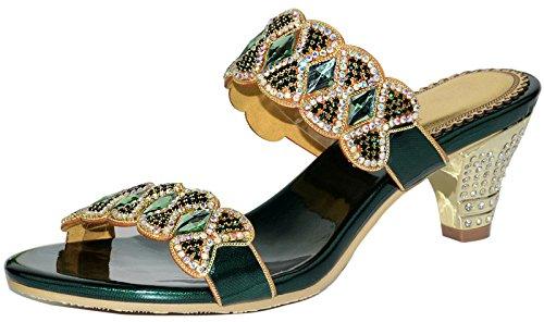 LizForm Women Sandal Crystal Stud Wedding Prom Party Sandal Rhinestone Low Heels Green 9 ()