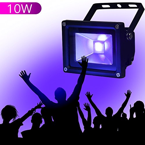 YQL Outdoor UV Black Light,10W Ultra Violet LED Flood Light,Blacklights for DJ Disco Night Clubs,UV Light Glow Bar,Blacklight Dance Party,Stage Lighting,glow in the dark party supplies Blacklight Bar