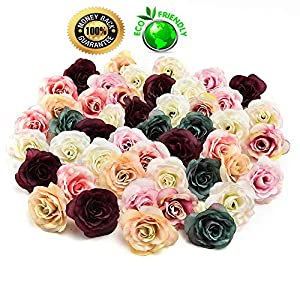 silk flowers in bulk wholesale Fake Flowers Heads Silk Flower Dahlia Rose Artificial Flower Head Wedding Decoration DIY Wreath Gift Box Scrapbooking Craft Fake Flower 30pcs 3.5cm (Multicolor) 46